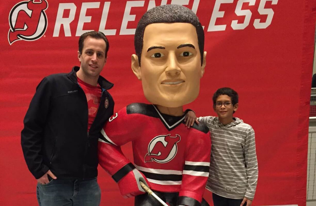 BBBSMMC Mentor of the Month Chris with Isaiah at a NJ devils game
